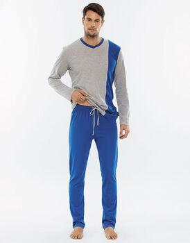 Pigiama manica e gamba lunga grigio melange in jersey di cotone con scollo a V-LOVABLE