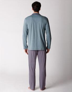 Pigiama uomo manica e gamba lunga, in jersey di cotone, righe grigio e verde, , LOVABLE