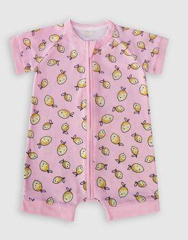 Pagliaccetto con zip in cotone elasticizzato, colore rosa con limoni, , LOVABLE