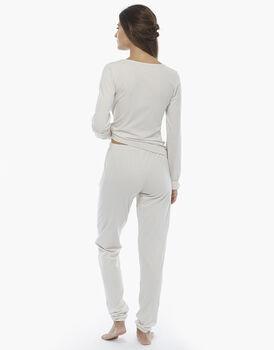 Pigiama manica e gamba lunga, latte, in jersey di cotone fil-à-fil, , LOVABLE