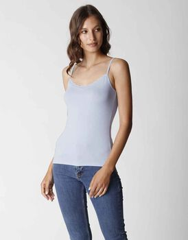 Top Basic Soul in viscosa con balzina sul collo, azzurro , , LOVABLE