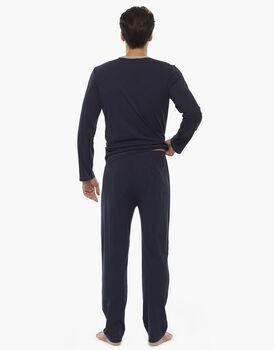 Pigiama manica e gamba lunga, grigio melange e blu, in jersey , , LOVABLE
