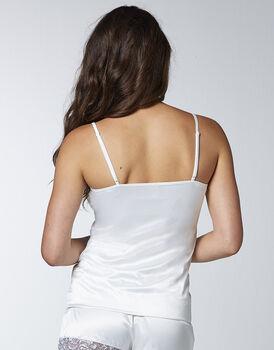 Top in satin monoelastico, bianco lana, , LOVABLE