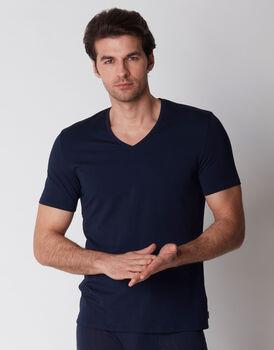 T-shirt con scollo a v blu notte, , LOVABLE