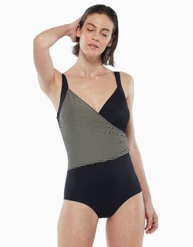 Intero shapewear con coppe imbottite, in microfibra, rigato oro e nero, , LOVABLE