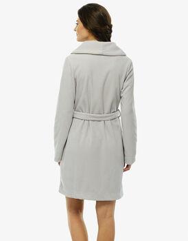 Vestaglia in pile grigio, aperta-LOVABLE