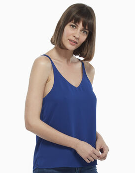 Top con doppia spallina sul retro bluette, in georgette , , LOVABLE