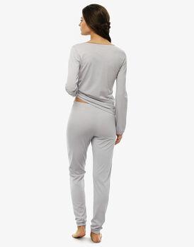 Pigiama manica e gamba lunga grigio in cotone modal -LOVABLE