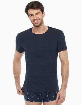T-shirt blu sail in cotone stretch, , LOVABLE