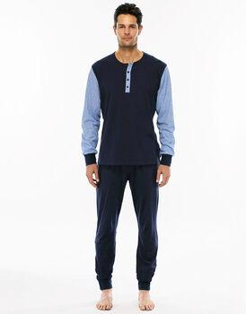Pigiama manica e gamba lunga blu navy in jersey di cotone con tasca sul retro pantalone-LOVABLE