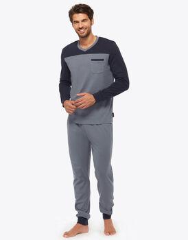 Pigiama interlock grigio azzurro 100% cotone, , LOVABLE