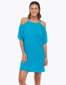Maxi t-shirt manica corta, azzurro, in viscosa fiammata, , LOVABLE