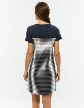 Camicia da notte aperta manica corta, blu righe, in jersey di cotone tinto filo-LOVABLE