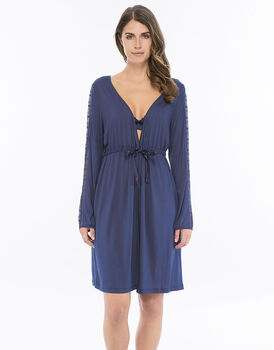 Vestaglia blu indigo in modal e nylon con inserti in pizzo-LOVABLE