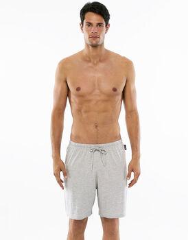 Pantalone corto grigio melange in jersey con tasca sul retro-LOVABLE