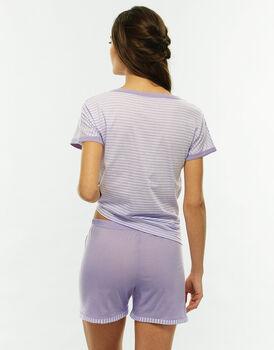 Pigiama manica e gamba corta, stampa a righe, in jersey di cotone-LOVABLE