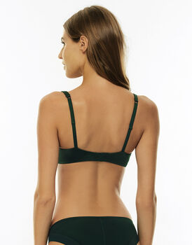 Reggiseno leggermente imbottito 24H Feminine con sistema infilo-sfilo ferretto, verde, in microfibra satinata e pizzo elasticizzato. Massimo comfort-LOVABLE