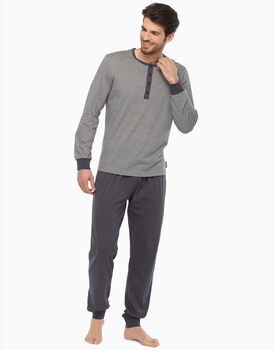 Pigiama in jersey, grigio rigato, , LOVABLE