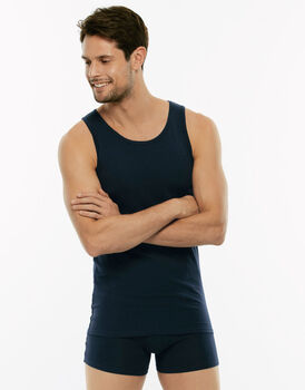 Canotta Cotton Stretch blu in cotone elasticizzato-LOVABLE
