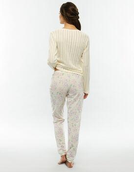 Pigiama manica e gamba lunga stampa acquerello in jersey di cotone-LOVABLE