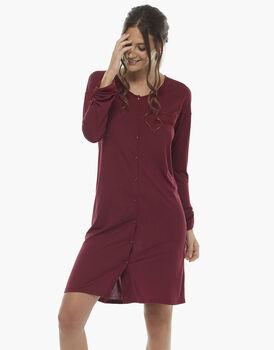 Camicia da notte manica lunga, bordeaux, in jersey modal , , LOVABLE