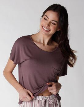 Maglia manica corta del pigiama in viscosa elasticizzata, marrone, , LOVABLE