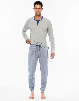 Pigiama manica e gamba lunga grigio melange in jersey con tasca sul retro pantalone-LOVABLE