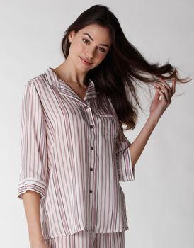Camicia del pigiama aperta maniche a 3/4 in tela di viscosa, rigato, , LOVABLE