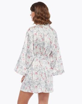 Kimono in raso, stampa a fiori, , LOVABLE