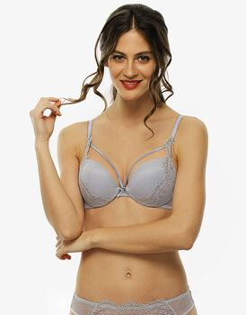 Reggiseno push up e oro rosa in pizzo con lurex e charmeuse-LOVABLE