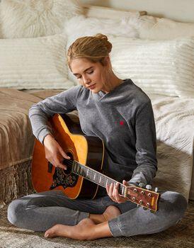 Homewear donna lungo in ciniglia, grigio, , LOVABLE