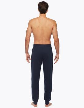 Pantalone lungo uomo in felpa garzata, blu navy, , LOVABLE