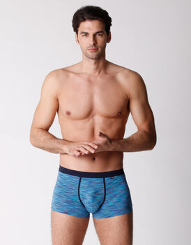 Boxer in cotone elasticizzato, blu rigato multicolor, , LOVABLE