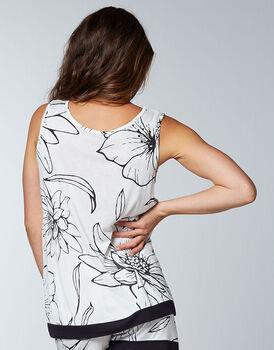 Top smanicato pigiama maniche corte 100% modal, bianco stampa a fiori, , LOVABLE