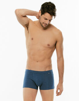 Boxer Slub Cotton blu in cotone fiammato-LOVABLE