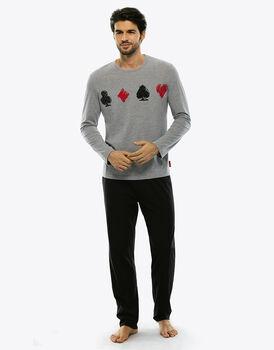 Pigiama manica e gamba lunga grigio mélange in jersey di cotone-LOVABLE