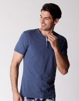 T-shirt uomo serafino in cotone elasticizzato, jeans melange, , LOVABLE