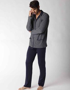Pigiama uomo lungo in jersey, grigio con righe blu, , LOVABLE