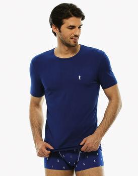 Maglia manica corta collo rotondo, stampa blu royal, in cotone modal-LOVABLE