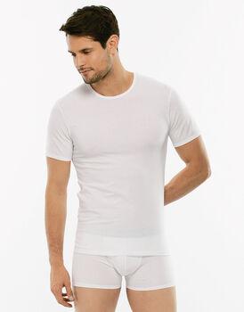 T-Shirt X-Temp bianca in cotone elasticizzato, girocollo-LOVABLE