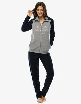 Homewear in pile grigio melange chiuso con zip-LOVABLE