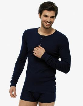 T-shirt manica lunga blu navy in cotone modal a costine con manica con polsino-LOVABLE