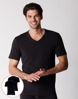 T-shirt scollo a V uomo in cotone biologico, confezione x2 nero, , LOVABLE