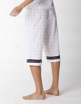 Pantalone capri in jacquard con inserto balzina crochet, bianco, , LOVABLE
