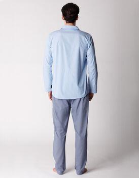 Pigiama uomo manica e gamba lunga, 100% cotone, azzurro rigato, , LOVABLE