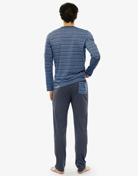 Pigiama manica e gamba lunga multirighe azzurro in jersey di cotone con coulisse in vita-LOVABLE