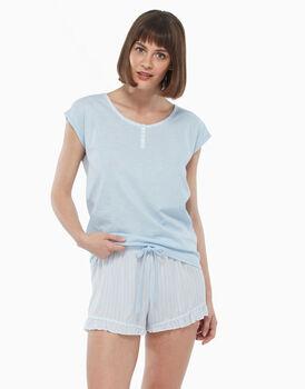 Pigiama in jersey di cotone fiammato, azzurro a righe, , LOVABLE