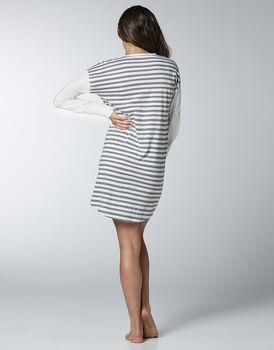 Camicia da notte in jersey di cotone, righe grigio melange , , LOVABLE