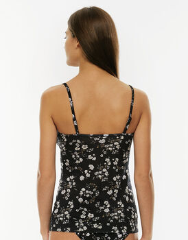 Top My daily Comfort in Modal. Stampa floreale e nero, massimo comfort-LOVABLE