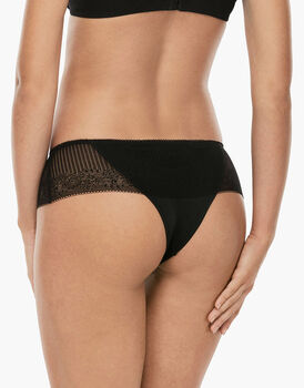 Culotte brasiliano Invisible Exclusive nero in microfibra e pizzo-LOVABLE